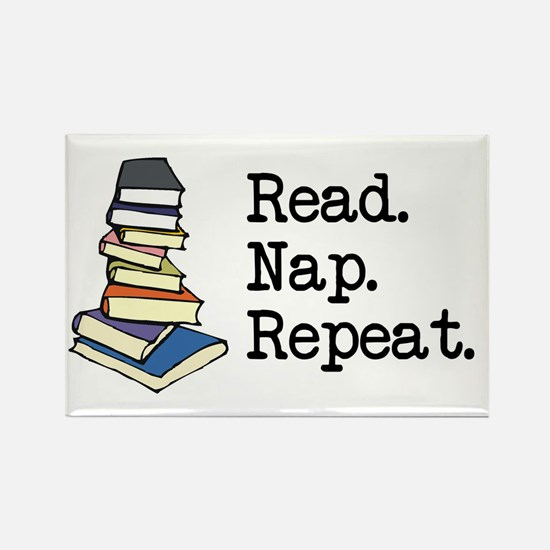 Read. Nap. Repeat. Rectangle Magnet