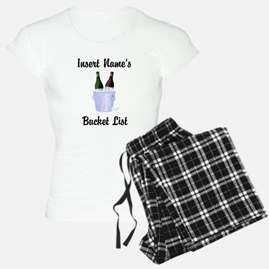Insert Name Personalized Wine Bucket List Pajamas