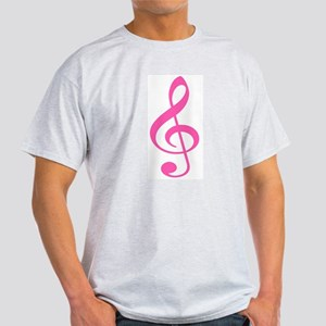 Pink Treble Clef Ash Grey T-Shirt