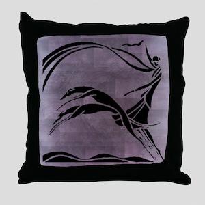 Femme et Chiens Throw Pillow