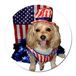 Yorkie Doodle Dandy Round Car Magnet