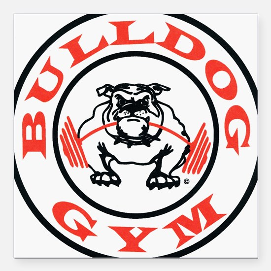 "Bulldog Gym Logo Square Car Magnet 3"" x 3"""