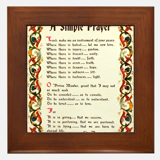 A Simple Prayer by Saint Francis of Assisi Framed