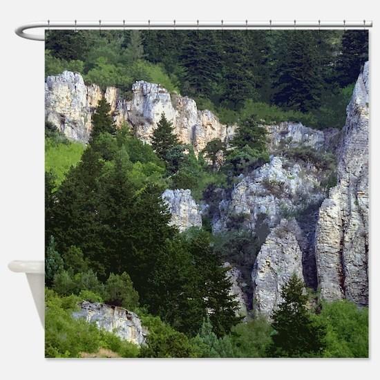 Pine tree cliffs Shower Curtain