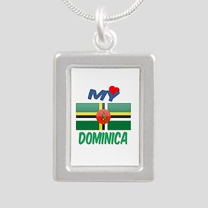 My Love Dominica Silver Portrait Necklace