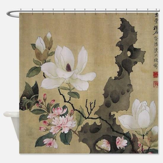 Chen HongShou Leaf Album Painting Shower Curtain