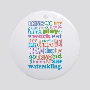 Waterskiing Gift Ornament (Round)