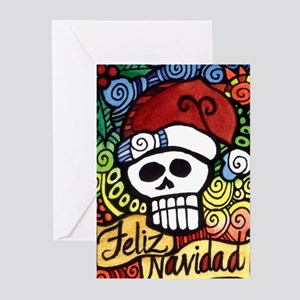 Christmas edgy greeting cards cafepress feliz navidad sugar skull christmas santa greeting m4hsunfo