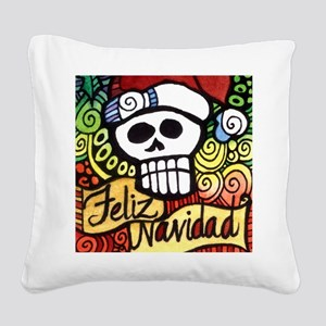 Feliz Navidad Sugar Skull Christmas Santa Square C
