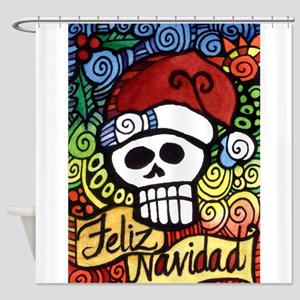 Feliz Navidad Sugar Skull Christmas Santa Shower C