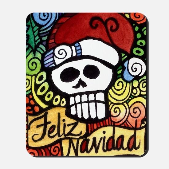 Feliz Navidad Sugar Skull Christmas Santa Mousepad