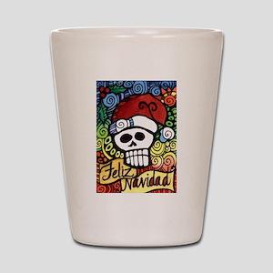 Feliz Navidad Sugar Skull Christmas Santa Shot Gla