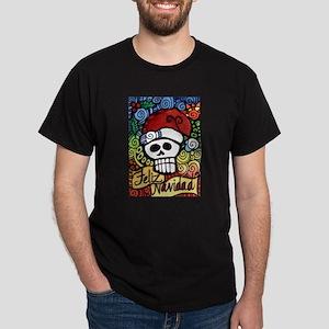Feliz Navidad Sugar Skull Christmas Santa Dark T-S