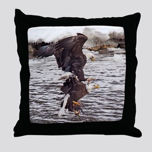 Striking Eagles Throw Pillow