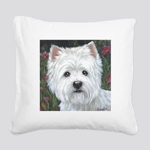 Sweetpea Westie Square Canvas Pillow