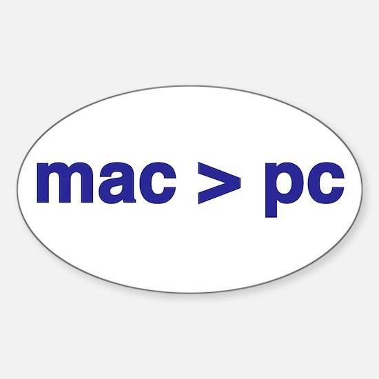mac > pc - Oval Decal