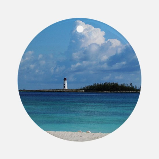 Nassau Bahamas Beach Lighthouse Ornament (Round)