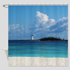Nassau Bahamas Beach Lighthouse Shower Curtain