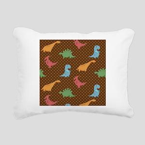 Dinosaur Polka Dot Print Rectangular Canvas Pillow