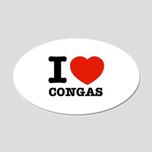 I Love Congas 20x12 Oval Wall Decal