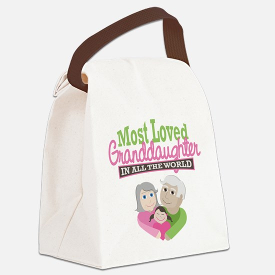 Most Loved Granddaughter Canvas Lunch Bag