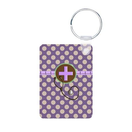 Medical polka dots purple.PNG Aluminum Photo Keych