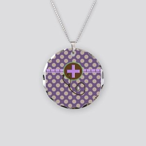 Medical polka dots purple.PNG Necklace Circle Char