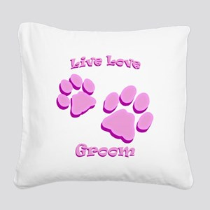 Live Love Groom Square Canvas Pillow