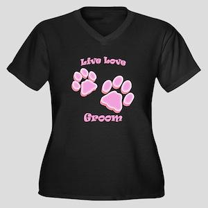 Live Love Groom Women's Plus Size V-Neck Dark T-Sh