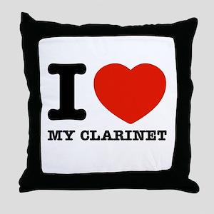 I Love My Clarinet Throw Pillow
