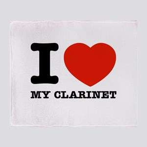 I Love My Clarinet Throw Blanket