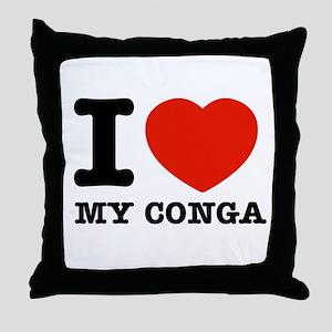 I Love My Conga Throw Pillow