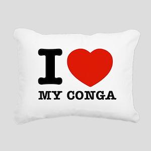 I Love My Conga Rectangular Canvas Pillow