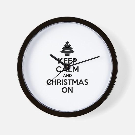 Keep calm and christmas on Wall Clock