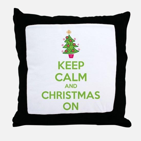 Keep calm and christmas on Throw Pillow