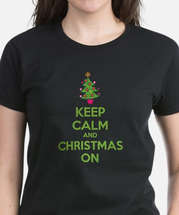 Keep calm and christmas on Women's Dark T-Shirt