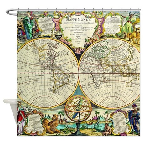 Vintage world map shower curtain by iloveyou1 vintage world map shower curtain sciox Gallery