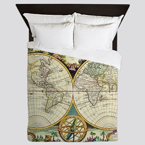 Vintage World Map Queen Duvet