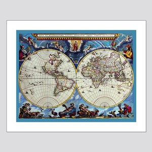 Antique World Map Small Poster