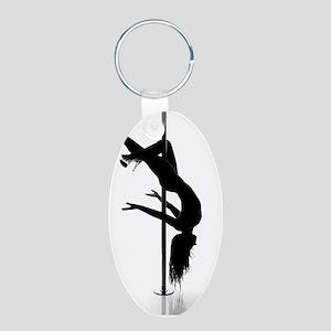 pole dancer 3 Aluminum Oval Keychain