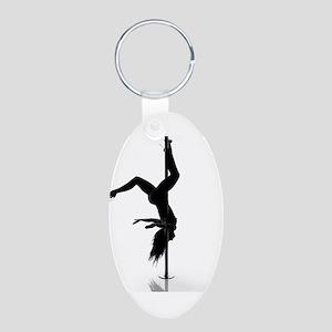 pole dancer 5 Aluminum Oval Keychain