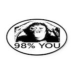 Evolution, Chimp: 98% You Oval Car Magnet