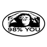 Evolution, Chimp: 98% You Sticker (Oval)