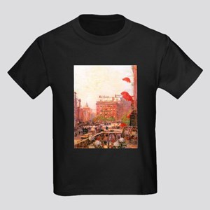 Childe Hassam Fifth Avenue Kids Dark T-Shirt