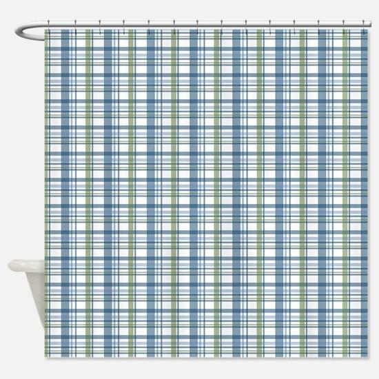 Blue Green Plaid Print Shower Curtain
