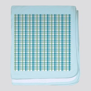 Blue Green Plaid Print baby blanket