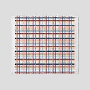 Red Blue Orange Plaid Print Throw Blanket