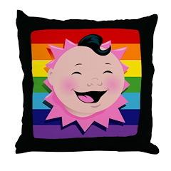 Gay Little Baby Rainbow Throw Pillow