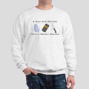 A Salt And Battery With A Dea Sweatshirt
