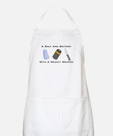 A Salt And Battery With A Dea BBQ Apron